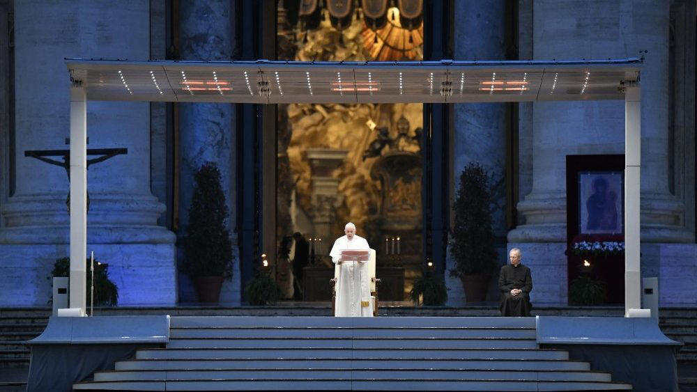 Pope Francis on the steps of St. Peter's Basilica